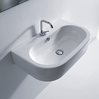 WS Bath Collections Flo Ceramic Ceramic U-Shaped Vessel Bathroom Sink w/ Overflow