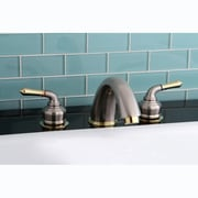 Kingston Brass Magellan Two Handle Roman Tub Faucet; Satin Nickel/Polished Brass by