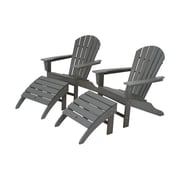 POLYWOOD  South Beach Adirondack Chair Set w/ Ottomans; Slate Grey