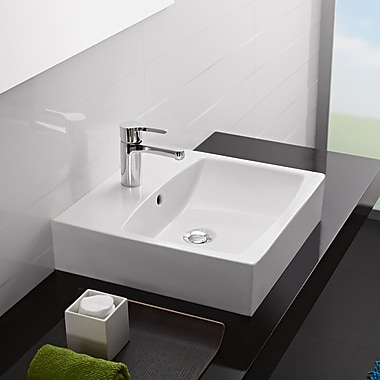 Bissonnet Universal Ceramic Rectangular Vessel Bathroom Sink w/ Overflow