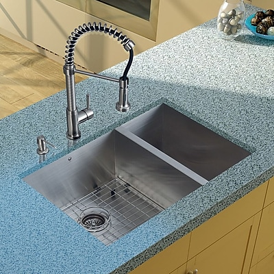 Vigo 29'' x 20'' Double Basin Undermount Kitchen Sink w/ Faucet, Grids, Strainers and Soap Dispenser