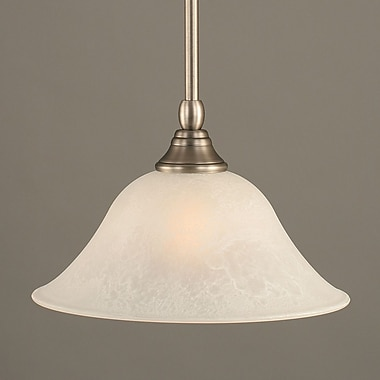 Toltec Lighting Stem Mini Pendant w/ Hang Straight Swivel; Brushed Nickel