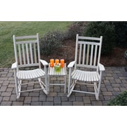 Dixie Seating 3 Piece Adult Slat Seat Porch Rocking Chair and Table Set; Unfinished