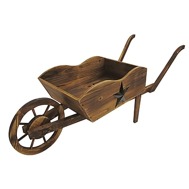 LeighCountry Char-log Pine Wheelbarrow Planter