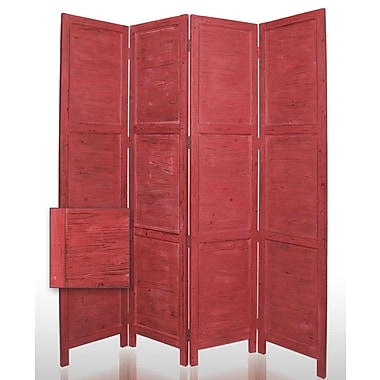 Screen Gems 84'' x 76'' Nantucket Painted 4 Panel Room Divider; Red