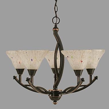 Toltec Lighting Bow 5-Light Shaded Chandelier; Black Copper