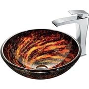 Vigo Northern Lights Glass Circular Vessel Bathroom Sink