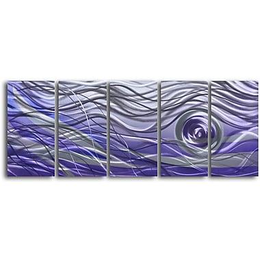 My Art Outlet 'Violet Vortex' 5 Piece Graphic Art Plaque Set