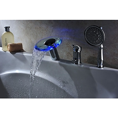 Sumerain Single Handle Deck Mount Tub Faucet Set w/ Handheld Sprayer