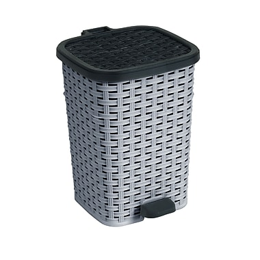 Superior Performance Plastic 6.8 Gallon Step On Trash Can; Grey and Black
