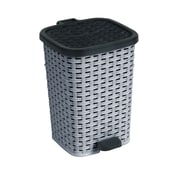 Superior Performance Rattan 1.6 Gallon Step On Trash Can; Grey and Black