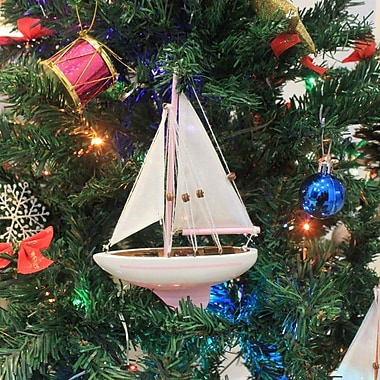 Handcrafted Nautical Decor 9'' Wooden Sailboat Christmas Tree Ornament; Pink
