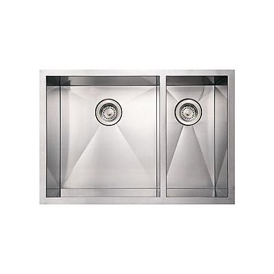 Whitehaus Collection Noah's 29'' x 20'' Commercial Double Bowl Undermount Kitchen Sink