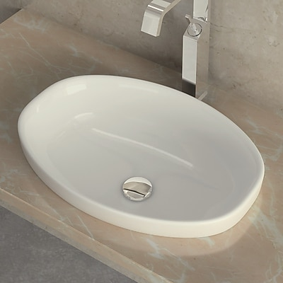 WS Bath Collections Ceramica Ceramic Oval Vessel Bathroom Sink w/ Overflow; Single Hole