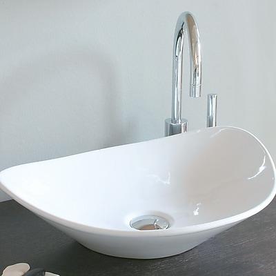 WS Bath Collections Ceramica Ceramic Oval Vessel Bathroom Sink; Single Hole