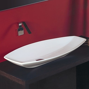 WS Bath Collections Ceramica Oval Vessel Bathroom Sink; Single Hole