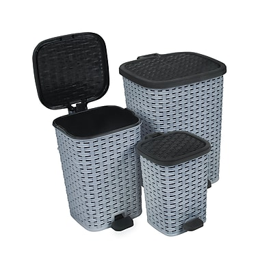 Superior Performance 3 Piece 1.6 Gallon Plastic Step On Trash Can Set; Grey / Black