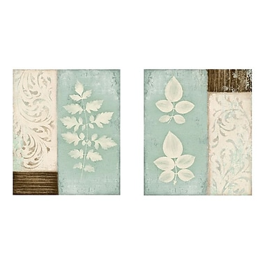 PTM Images Teal Leaves Graphic Art on Wrapped Canvas Set (Set of 2)