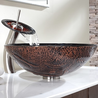 Kraus Lava Glass Circular Vessel Bathroom Sink w/ Faucet; Satin Nickel