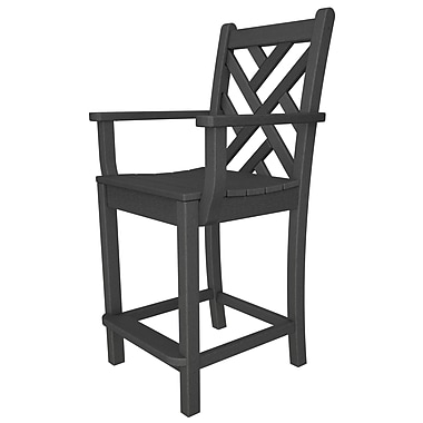 POLYWOOD Chippendale 24'' Patio Bar Stool; Slate Grey