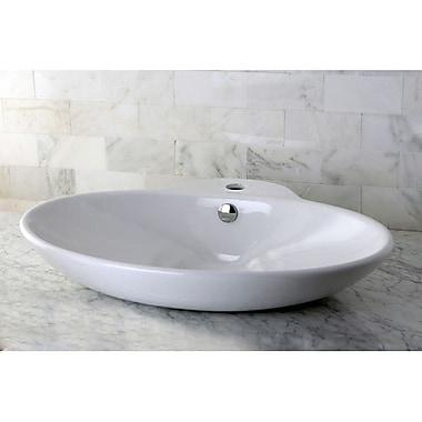 Kingston Brass Oliva Ceramic Oval Vessel Bathroom Sink w/ Overflow