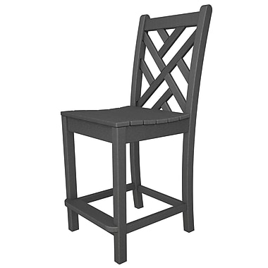 POLYWOOD Chippendale 24'' Bar Stool; Slate Grey