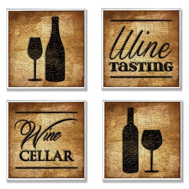 Stupell Industries Wine Cellar and Tasting 4 Piece Textual Art Wall Plaque Set