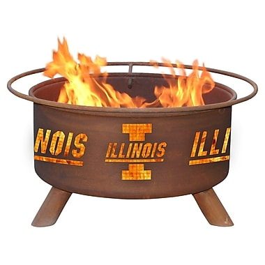 Patina Products Collegiate Series Steel Wood Burning Fire pit; University of Illinois
