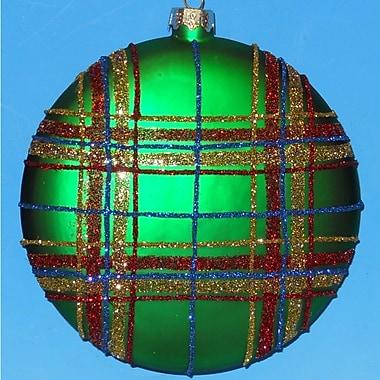 Horizons East Plaid Disc Ornaments (Set of 4); Green
