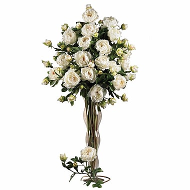 Nearly Natural 38.5'' Peony w/ Leaves Floral Arrangements in White (Set of 12)