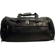 David King 20.5'' Leather Multi Pocket Travel Duffel; Black