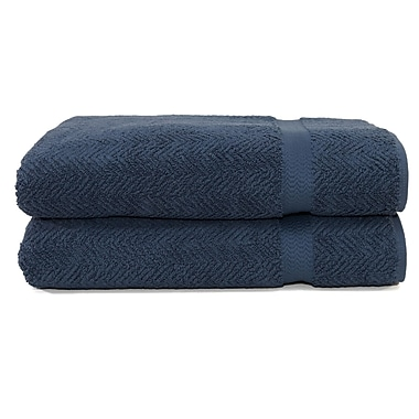 Linum Home Textiles Herringbone Bath Towel (Set of 2); Midnight Blue