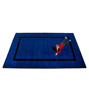 Kid Carpet Montessori Blue w/ Black Line Classroom Kids Rug; 6' x 8'6''