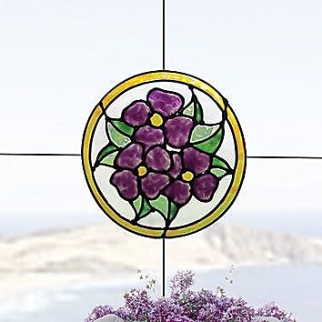 Brewster Home Fashions Pansy Medallion Stained Glass Appliqu Window Sticker; Amethyst