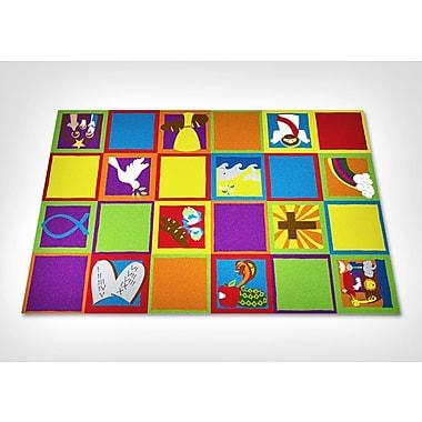 Kid Carpet Christian Squares Sunday School Area Rug; Rectangle 7'6'' x 12'