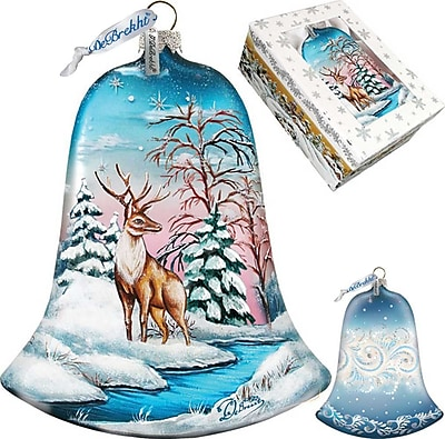G Debrekht Winter Deer Bell Ornament