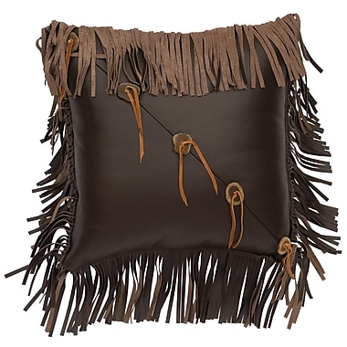 Wooded River Fringe and Sliced Antler Buttons Leather Throw Pillow