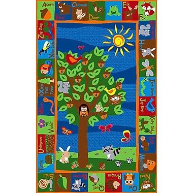 Kid Carpet Forest Animal Alphabet Multi Colored Area Rug; 6' x 8'6''