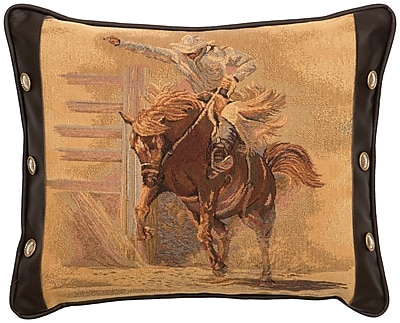 Wooded River Leather and Decorative Conchos Leather Throw Pillow WYF078275857813