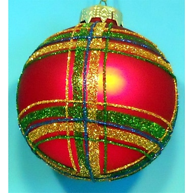 Horizons East Plaid Ball Ornaments (Set of 4); Red