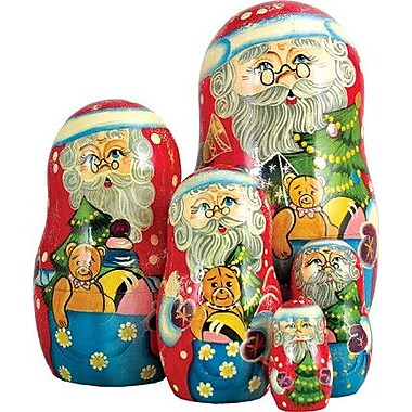 G Debrekht Russia 5 Piece Gift Bag Santa Nested Doll Set