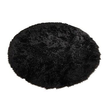 Walk On Me Animal Black Area Rug; Round 4'7''