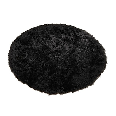 Walk On Me Animal Black Area Rug; Round 4'7''