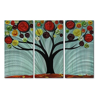All My Walls 'Vivid Swirl Tree' by Danlye Jones 3 Piece Graphic Art Plaque Set