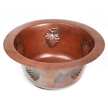 D'Vontz Copper 16'' x 16'' x 7'' Round Bar Sink w/ Grape Relief; Dark Smoke Copper