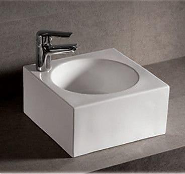 Whitehaus Collection Isabella Ceramic Square Vessel Bathroom Sink