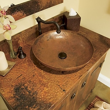 Native Trails Maestro Sonata Copper Circular Vessel Bathroom Sink; Tempered Copper