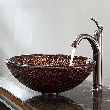Kraus Venus Glass Circular Vessel bathroom Sink w/ Overflow