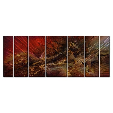 All My Walls 'Red Swells' by Michael Lang 7 Piece Graphic Art Plaque Set
