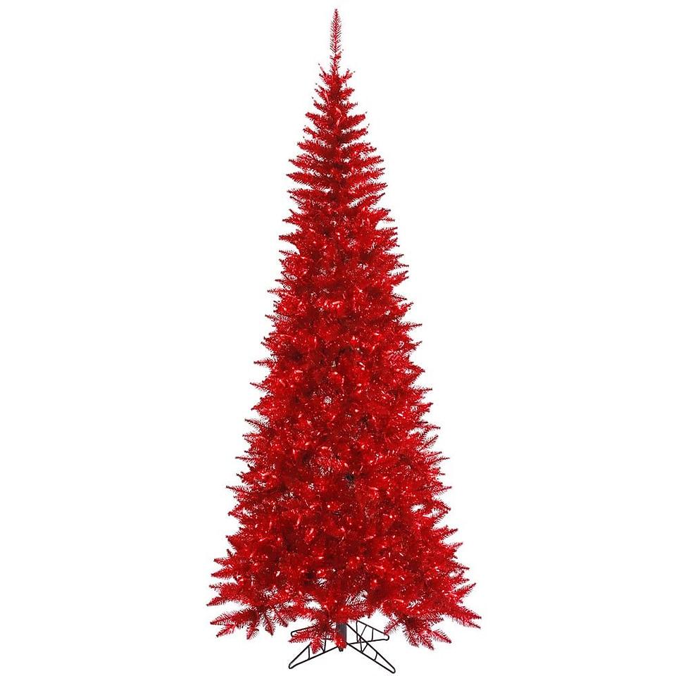 Vickerman 5.5 Tinsel Red Slim Fir Artificial Christmas Tree with 300 Mini Lights